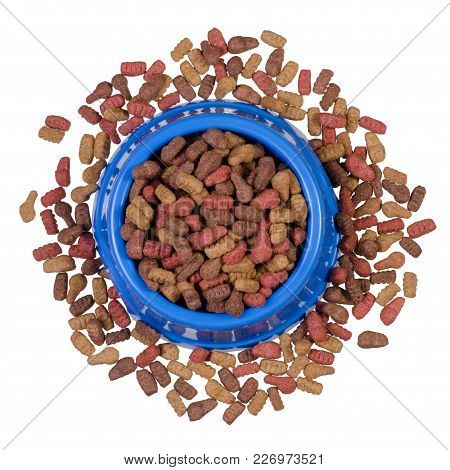 Dry Food In A Bowl For Dogs And Cats On A White Background Isolation, Top View