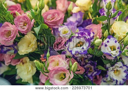 A Large Bouquet Of Multi-colored Alstroemerias In The Flower Shop Are Sold In The Form Of A Gift Box