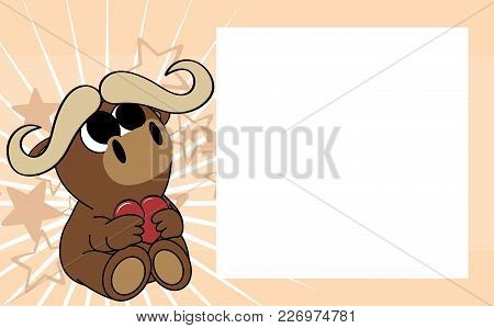 Cute Baby Oxen Bull Valentine Picture Frame Background In Vector Format Very Easy To Edit