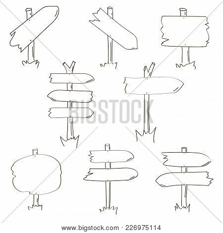 Set Of Eight Different Hand Drawn Wooden Signboards. Vector Illustration.