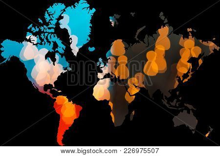 People Shapes Forming World Map On Black Backgound With Multinational Connection Worldwide Concept