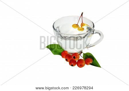 Menu Diet Plan Or Program, A Glass Of Cocktail Berries, Diet Food Fresh Fruits, Isolated On A White