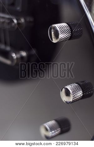 Detail Of A Black Electric Guitar Low Key With Soft Light And Depth Of Field Electric Guitar Close-u