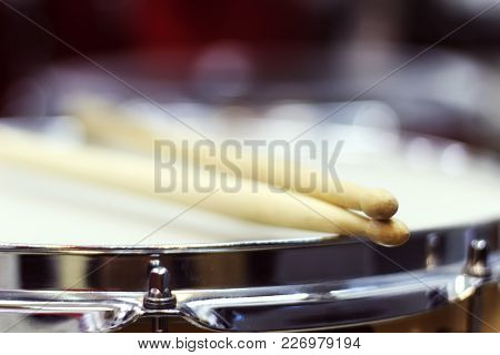 Drumsticks Close-up On The Background Of The Drum Set, Soft Focus