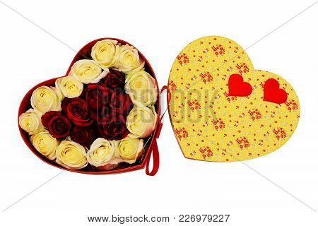 Gift Box In The Form Of Heart With Scarlet Bow, White And Red Live Roses. Valentines Day Concept. Is
