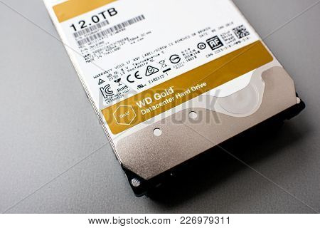 Paris, France - Feb 15, 2018: Detail Of The New Western Digital Gold Hdd Enterprise Level 12 Terabyt
