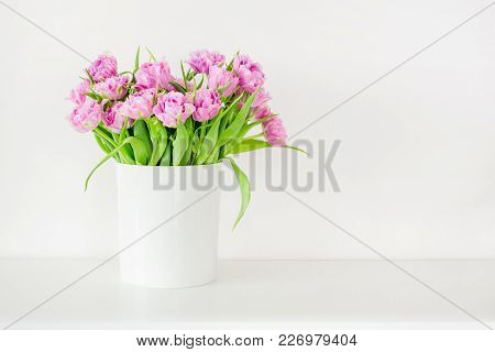Fresh Bright Bouquet Of Pink Tulip In White Bucket. Beautiful Greeting Card. Spring Holidas Concept.