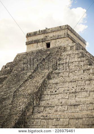 Ancient Mayan Stone Temple At Chichen Itza Mexico