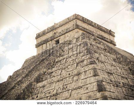 Ancient Mayan Temple At Chichen Itza Mexico