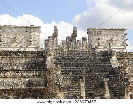 Mayan Toltec Temple Ruins At Chichen Itza Mexico