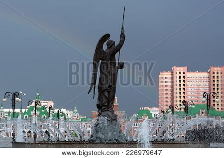 Yoshkar-ola, Russia - Jule 14, 2017 Photo Of The Monument To Archangel Gabriel At The Arkhangelsk Se
