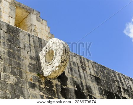 Ceremonial Mayan Ball Game Hoop At Chichen Itza Mexico