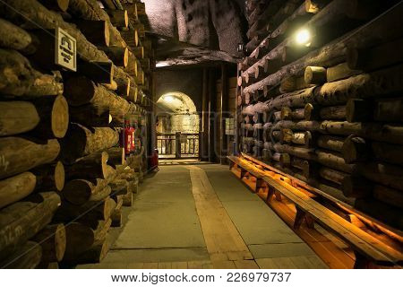 Wieliczka, Poland - May 28, 2016: Сorridor In The Wieliczka Salt Mine. Opened In The 13Th Century, T