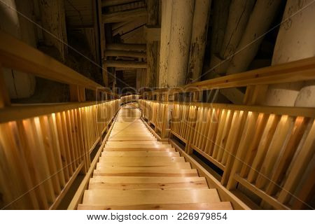 Wieliczka, Poland - May 28, 2016: Staircase In The Wieliczka Salt Mine. Opened In The 13Th Century,