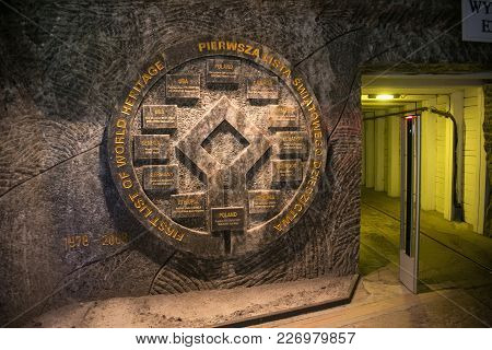 Wieliczka, Poland - May 28, 2016: Emblem Of The Unesco World Heritage Sites In The Wieliczka Salt Mi