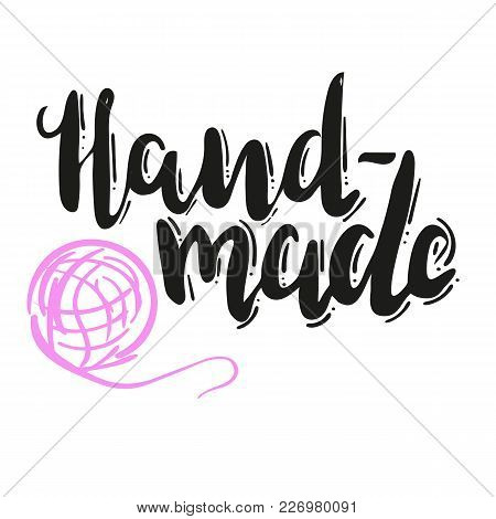 Lettering Hand Made With Ball Of Threads On White Background. Hand Drawn Vector Illustration, Brushp