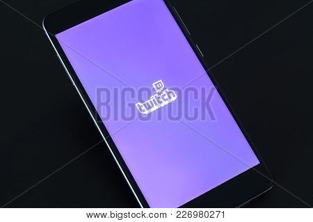 Yoshkar-ola, Russia - February 16, 2018 Twitch Logo On Smartphone Screen On Black Background.