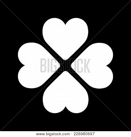 Four Hearts Vector Icon. Valentine Day Concept. Flat Line Simple Illustration On Black Background. O