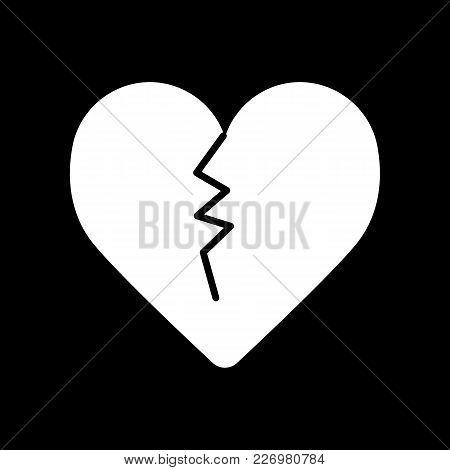 Broken Heart Line Icon. Vector Flat Illustration. Solid Design.