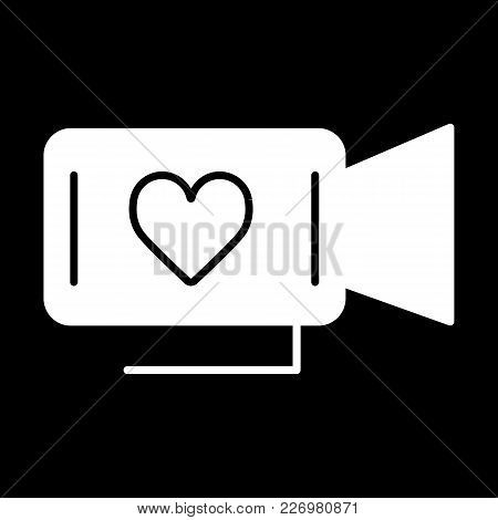 Movie Camera With Heart Symbol. Film About Love. Valentine Day Concept. Simple Linear Vector Icon. S