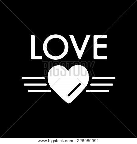Simple Cute Valentine's Day Text Love On Black Background. Vector Word Love For Greeting Card Or Val