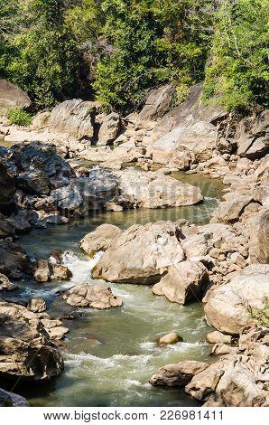 Creek Flowing Through Along Rocks And River, Chiangmai, Thailand