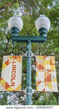 Nebraska, Usa - Aug 8, 2017: Closeup View Of A Street Lamp Post In Lincoln, Which Has A Retro Design