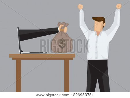Hand From Laptop Computer Give Business Professional A Bag Of Money. Creative Cartoon Vector Illustr