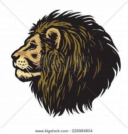 Mighty Lion Head Mascot Logo Vector Illustration
