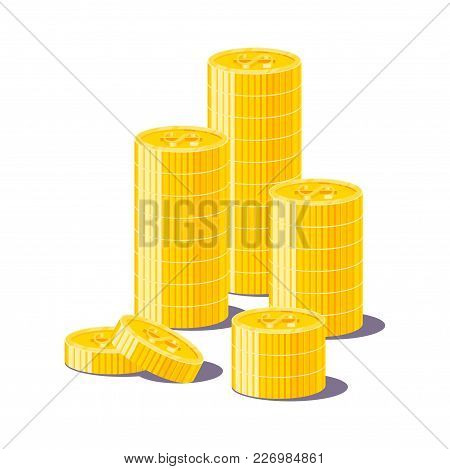 Stack Gold Dollars Isolated Cartoon. Bunches Of Gold Dollars And Dollar Signs For Designers And Illu