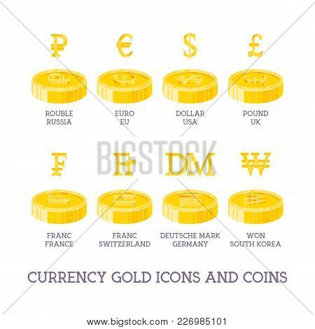 World Currency Signs And Coins. Big Set Symbols Of Money And Gold And Silver Icons - Dollar, Euro, Y