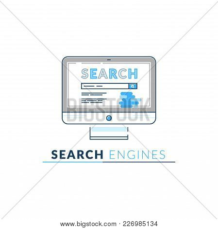 Vector Icon Style Illustration Of Search Engine Application Software, Education And Research Develop