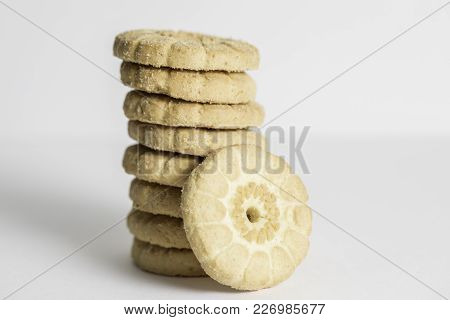 Close Up Macro Shot Of Butter Cookies Stacked