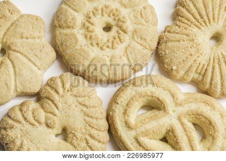Close Up Macro Shot Of Butter Cookies
