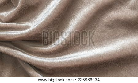 Beige Velvet Background Or Velour Flannel Texture Made Of Cotton Or Wool With Soft Fluffy Velvety Sa