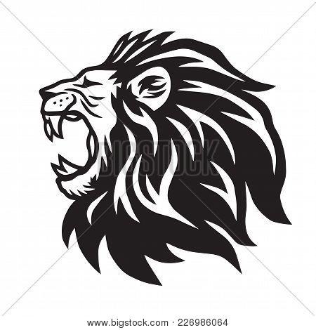 Lion Roaring Vector Icon Logo Template Design