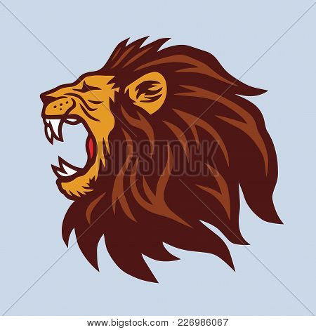 Angry Lion Mascot Vector Logo Design Template