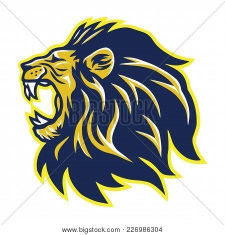 Wild Lion Roaring Head Mascot Vector Logo Template Design