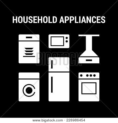 Household Appliances Icons Set. Large. Flat. White.