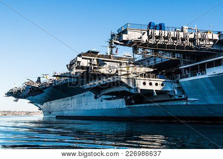 San Diego, California - April 30, 2017:  The Uss Midway Museum, A Former Aircraft Carrier Commission