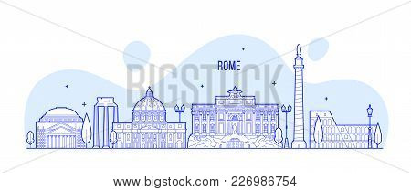 Rome Skyline, Italy. This Vector Illustration Represents The City With Its Most Notable Buildings. V