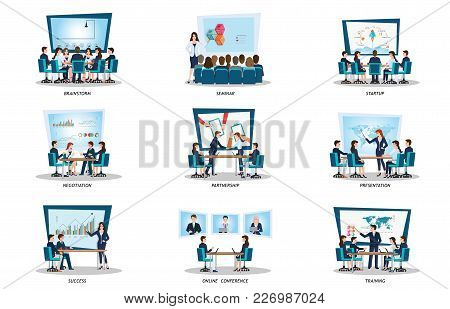 Business People Of Meeting Or Teamwork, Brainstorming Isolated On White, Character In Flat Style Vec