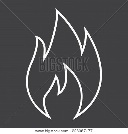 Flammable Symbol Line Icon, Logistic And Delivery, Fire Sign Vector Graphics, A Linear Pattern On A