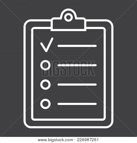 Checklist Line Icon, Clipboard And Note, Checkmark Sign Vector Graphics, A Linear Pattern On A Black