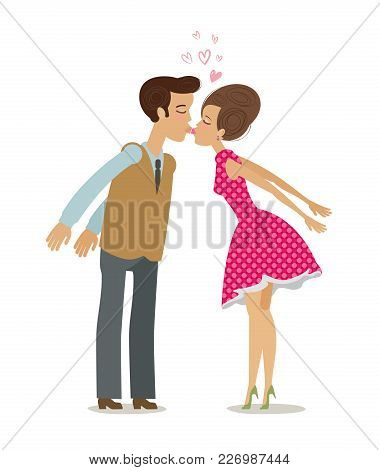 Kiss, Love Concept. Happy Couple Kissing. Cartoon Vector Illustration Isolated On White Background