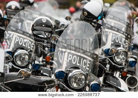Buford, Ga - October 2017:  Several Unoccupied Police Motorcycles Are Lined Up In Rows, Before The S