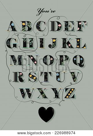 Artistic Alphabet With Encrypted Romantic Message - You Are My Angel Black Letters With Watercolor F