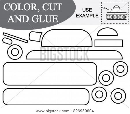 Color, Cut And Glue To Create The Image Of Tank (transport). Educational Game For Children. Vector I