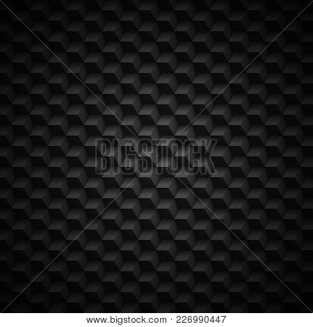 Abstract Geometric Technology Background. Black Texture With Shadow. Simple Background Texture