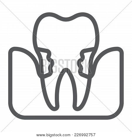 Periodontitis Line Icon, Stomatology And Dental, Periodontal Tooth Sign Vector Graphics, A Linear Pa